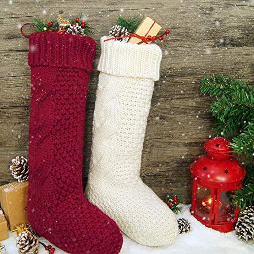 LimBridge Christmas Stockings, 2 Pack 18 inches Large Size Cable Knit Knitted Xmas Rustic Personalized Stocking Decorations for Family Holiday Season Decor, Cream or Burgundy