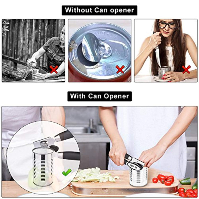 Can Opener, Can Opener Manual Food-Safe FDA Stainless Steel, NO-Rust, Ergonomic Anti Slip Design Big Knob For Easy Turn,Home Restaurant Smooth Edge Can Openers Suitable For The Elderly