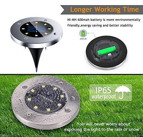 Solar Ground Lights, 8 LED Solar Disk Lights Outdoor Waterproof for Garden Yard Patio Pathway Lawn Driveway Walkway- Warm White (8 Pack)