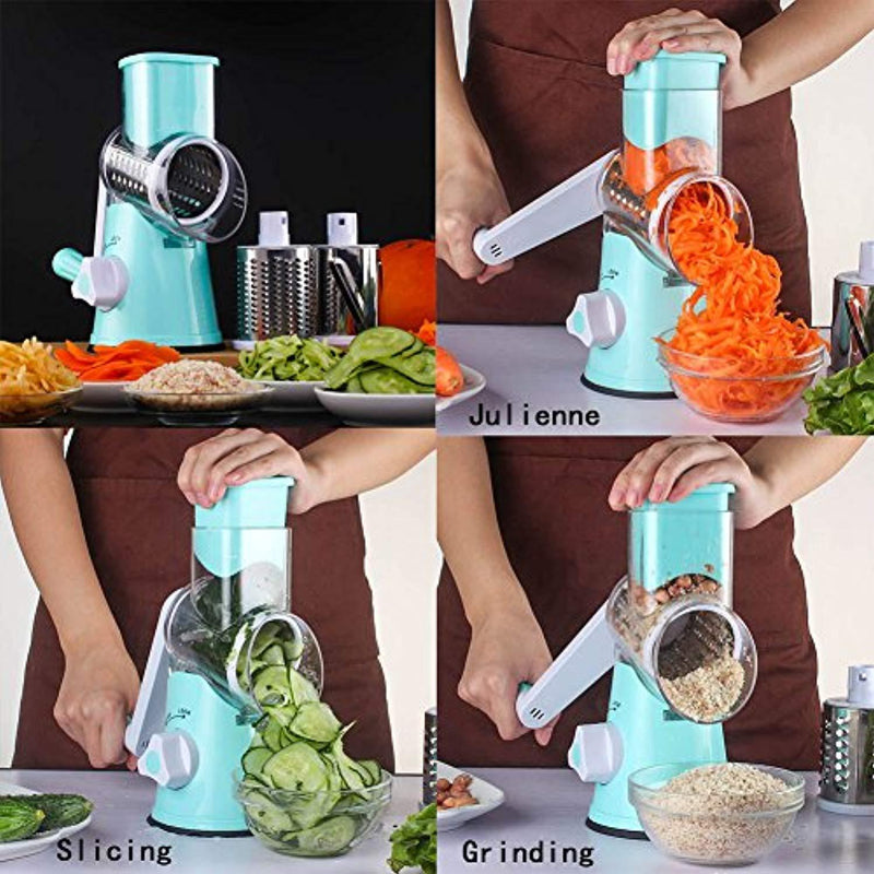 Vegetable Mandoline Slicer Chopper Grater-Speedy Manual Rotary Drum Grater Countertop Food Slicer Fruit Cheese Nut Chopper Cutter Shredder Grinder
