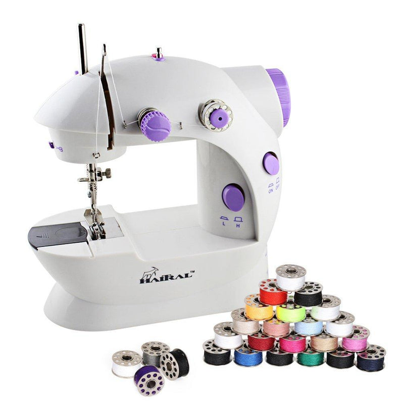 HAITRAL Mini Portable Sewing Machine with Light and Foot Pedal Adjustable Speed