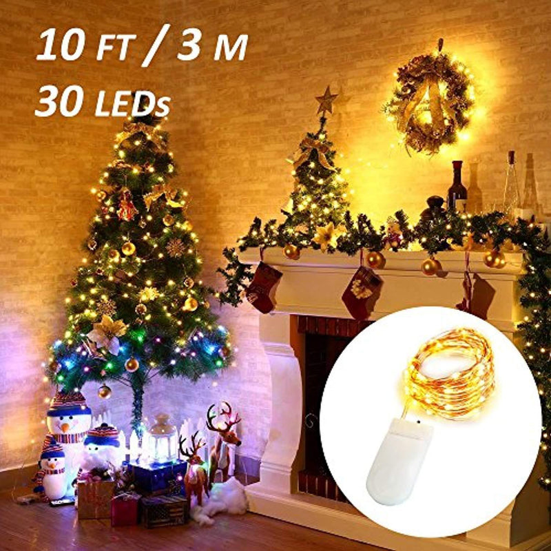 Ustellar 16 Pack 10ft 30 Micro Starry LED String Lights, Waterproof Fairy Copper Wire Lights, Firefly Moon Lights Battery Operated (Included), for DIY Wedding Party Christmas Decorations (Warm White)