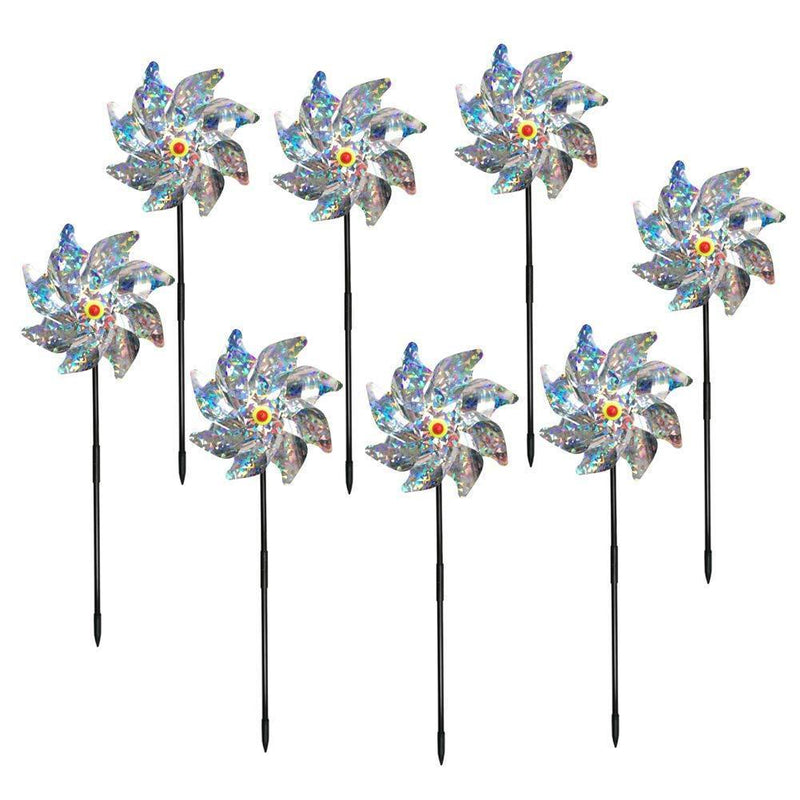 Bird Blinder Pinwheels Sparkly Silver Mylar Pin Wheel Holographic Spinners Whirl Reflective Pinwheel Scare Birds Away for Garden Party Lawn Kids Decor