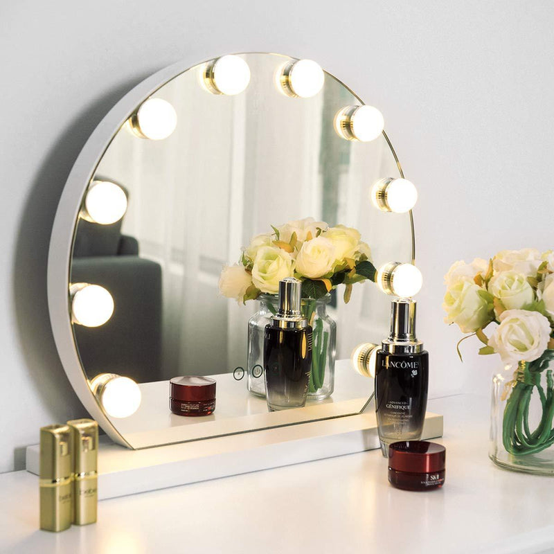 Tangkula Makeup Vanity Mirror with Light, Hollywood Style Mirror with Base Touch Screen High Definition Cosmetic Mirror with 10 LED Dimmable Bulbs 3 Color Lighting Modes, Tabletop Frameless Mirror