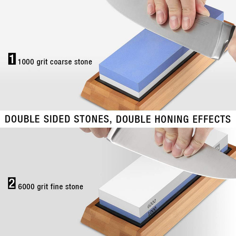 Sharpening Stone 1000/6000 2 Sides, Knife Sharpening Whetstone Grits with NonSlip Bamboo Base & Angle Guide, Kitchen Tools