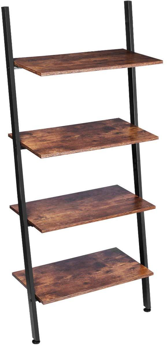 KingSo Ladder Shelf 4-Tier Bookshelf Leaning Storage Rack Shelves for Living Room Kitchen Home Office Metal Frame Stable Sloping Industrial Ladder Shelfs Leaning Against The Wall Rustic Brown