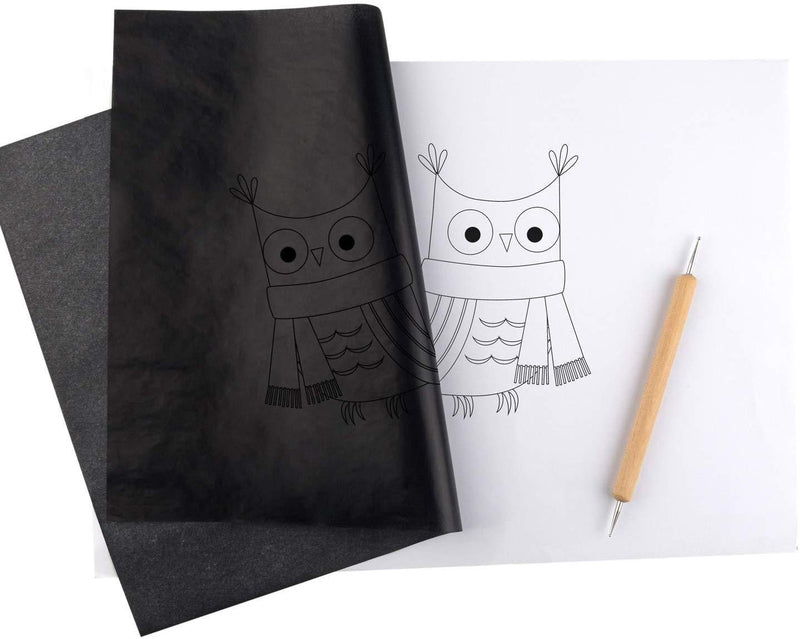 TUPARKA 120 Sheets Carbon Copy Paper with 5 PCS Embossing Stylus,Black Transfer Paper Tracing Paper for Tracing on Wood,Fabric Tattoo Stencil Copy Accessory