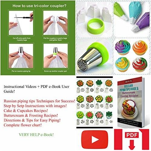 Russian Piping Tips Cake Decorating Supplies Cakes of Eden Kit Flower Frosting tips Set 12 Icing Nozzles 2 Couplers 2 Leaf Tips 1 Silicone Bag 10 Pastry Baking Bags