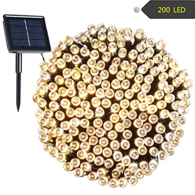 RockBirds Solar String Lights 72ft 22m 200 LED Certified by FCC and Rohs, Outdoor String Lights Waterproof IP65 Decorative Lights for Halloween, Wedding, Outdoor, Homes, Party (Warm White)