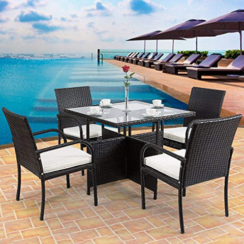 Tangkula 5 Piece Dining Set Patio Furniture Outdoor Garden Lawn Rattan Wicker Table and Chairs Set Conversation Chat Set with Tempered Glass Top Table (Square Table)