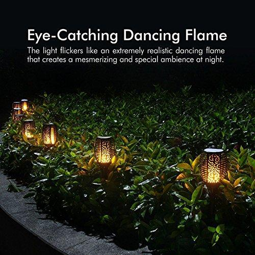 Poppin Kicks Flickering Flame Solar Torches Lights Waterproof Outdoor Landscape Decoration Lighting Dusk to Dawn Auto On/Off USB Charging Security Torch Light for Patio Driveway (4 Pack)