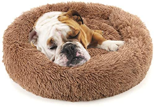 Nest 9 Donut Dog Cat Bed, Soft Plush Pet Cushion, Anti-Slip Machine Washable Self-Warming Pet Bed - Improved Sleep for Cats Small Medium Dogs (Multiple Sizes)