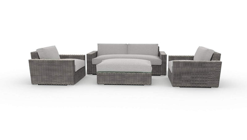 Toja Bretton Outdoor Patio Sofa Set (4 pcs) | Wicker Rattan Body with Sunbrella Cushions (Cast Silver)