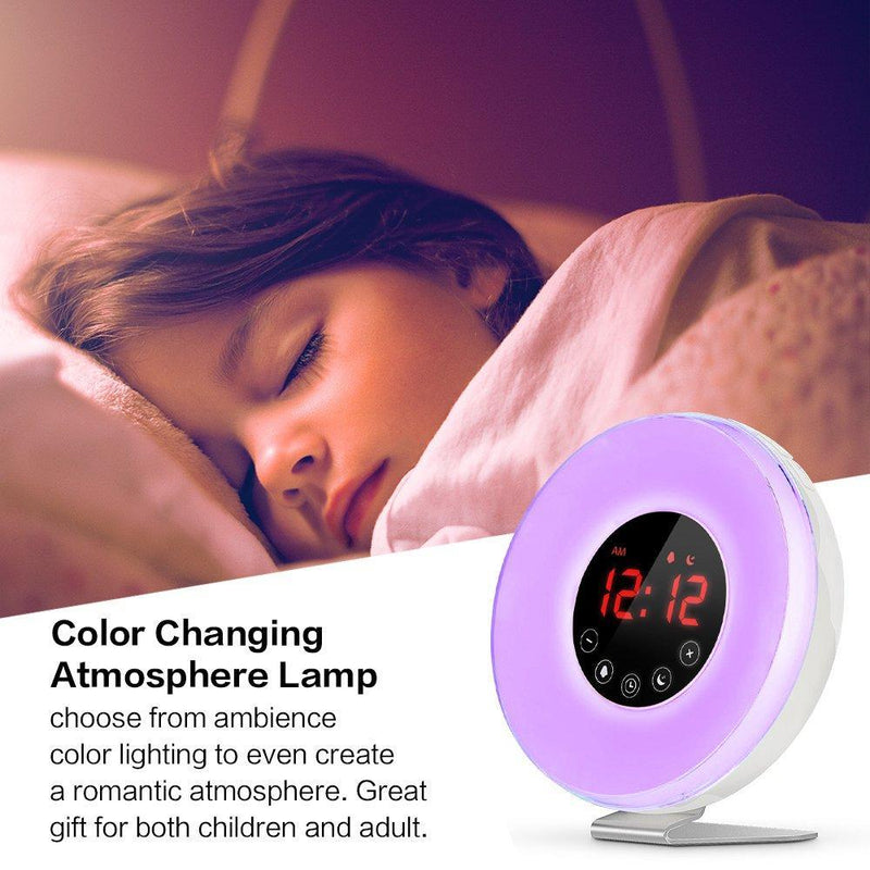 LBell Wake Up Light Alarm Clock, [2018 Upgraded] Digital Alarm Clock with Sunrise Simulation, 7 Colors Night Light, 6 Nature Sounds, FM Radio for Bedrooms and Heavy Sleepers