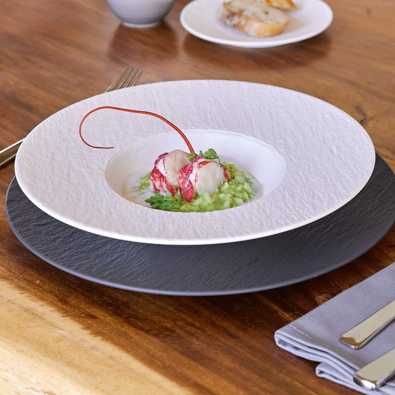 Villeroy & Boch Manufacture Rock Blanc Pasta Plate, Structured Crockery Porcelain, White, 29 cm