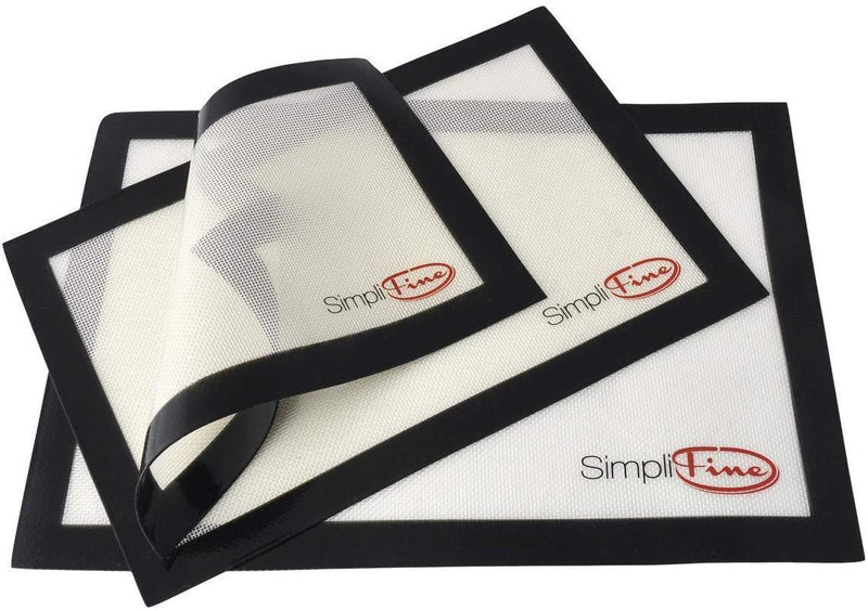 SimpliFine Silicone Baking Mat Set, 3 Different Silicone Baking Mats for Half, Quarter and Small Oven Sheet Sizes.