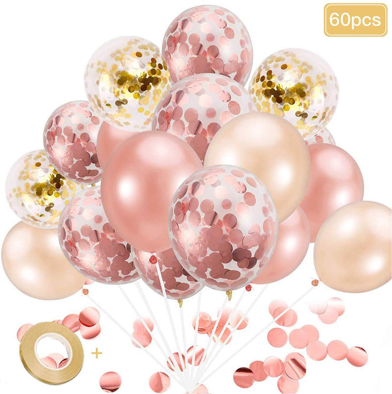 Rose Gold Balloons, Confetti Balloons for Parties, 60pcs Balloons Bulk for Birthday Parties or Graduation Decorations by Unihoh