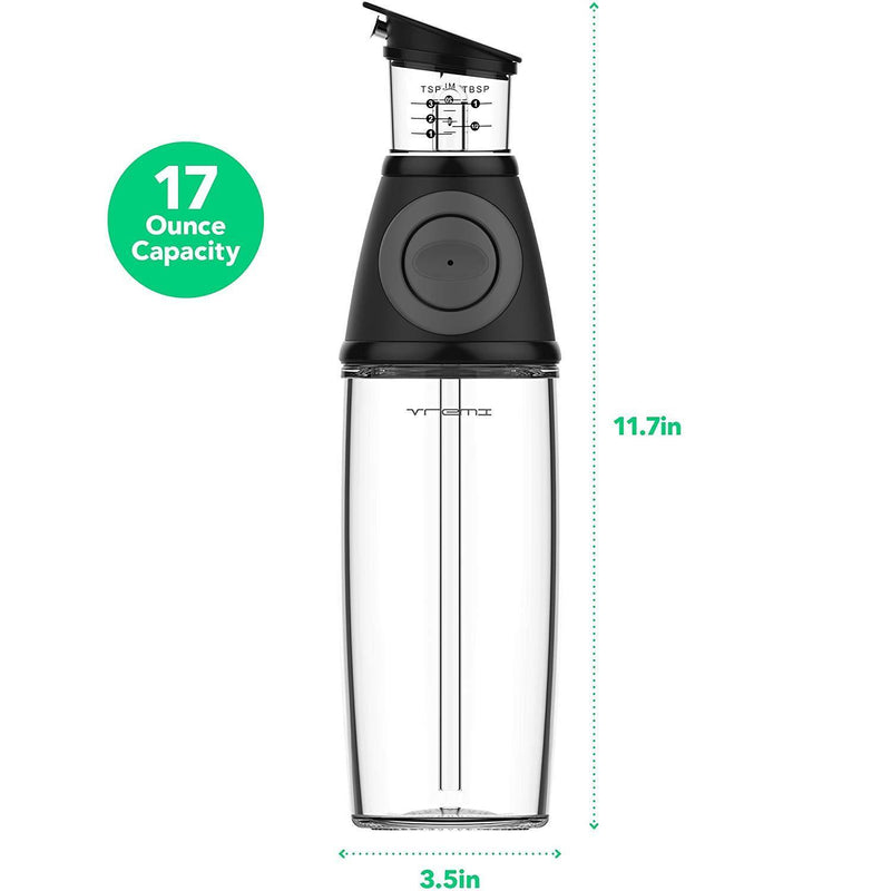 Vremi Olive Oil Dispenser Bottle - 17 Oz Oil Bottle Glass with No Drip Bottle Spout - Oil Pourer Dispensing Bottles for Kitchen - Olive Oil Glass Dispenser to Measure Cooking Vegetable Oil and Vinegar