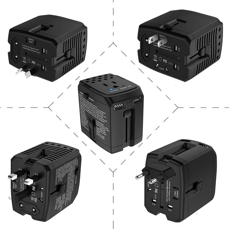 2000W 220V to 110V Converter and Travel Adapter w/2 USB Ports COMBO - Converter Step Down Voltage with Electric Products Like Hair Dry - Universal World Plug Adapter US to UK Europe Over 150 Countries