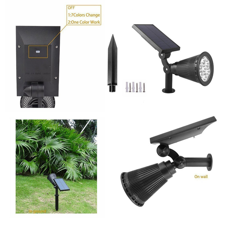 Starsprairie Color Changing Solar Lights Outdoor Spotlight Waterproof 7 LED Adjustable 4th Gen Auto On/Off Outdoor Landscape Light for Yard Pool Garden Garage Driveway Deck 2 Pics by Starsprairie