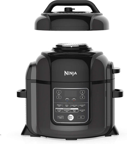 Ninja Foodi 7-in-1 Programmable Pressure Fryer, Slow Multi Cooker with TenderCrisp Technology, 5 Pot, 3-qt. Air Fry Basket (OP101), 5-Quart, Black/Gray