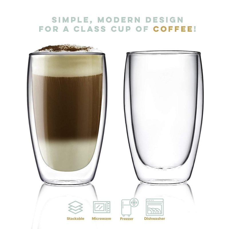 Coffee or Tea Glass Mugs Drinking Glasses Set of 2-15oz Double Walled Thermo Insulated Cups, Latte Cappuccino Espresso Glassware
