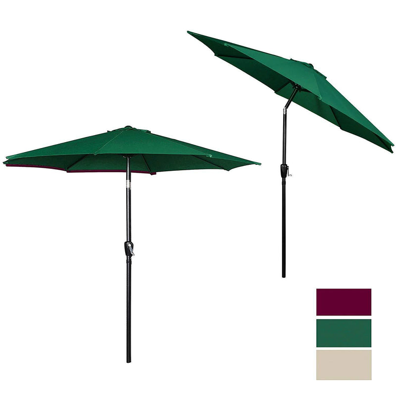 Cloud Mountain 9' Patio Umbrella, Outdoor Market Umbrella with Push Button Tilt and Crank, Aluminum Table Umbrella Outside 100% Polyester, Green