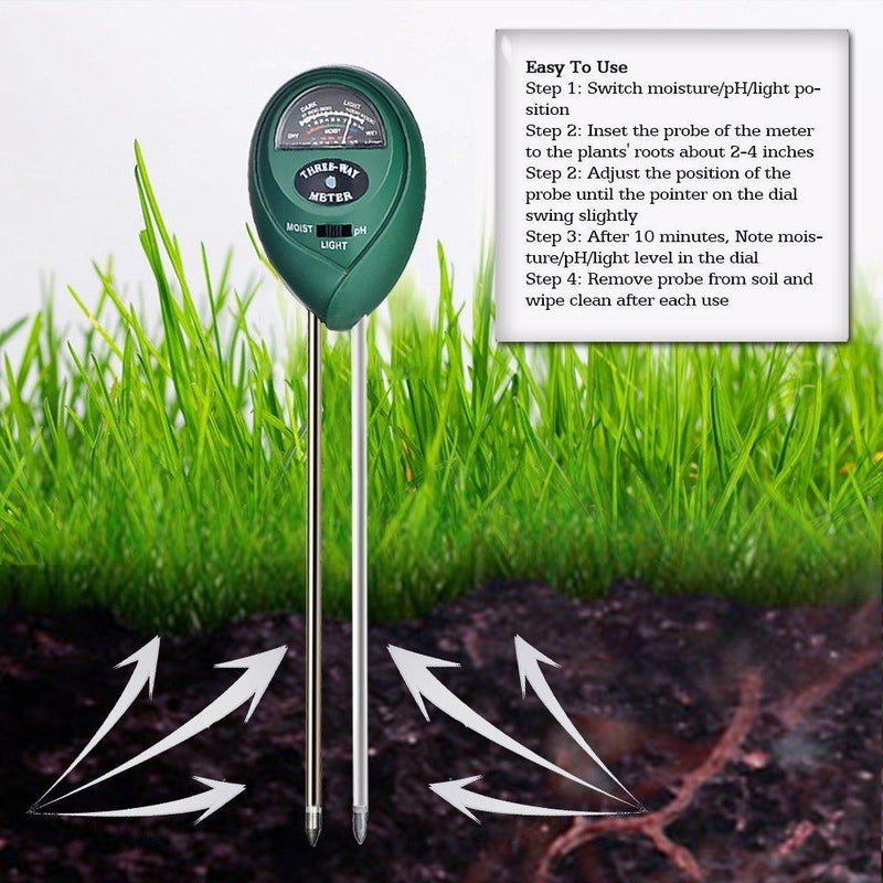 mooncity Soil pH Tester Kits, 3-in-1 Soil Meter for Moisture, Light and pH/Acidity Meter Plant Tester,Good for Gardener or Planter Both Indoor and Outdoors (No Battery Needed)
