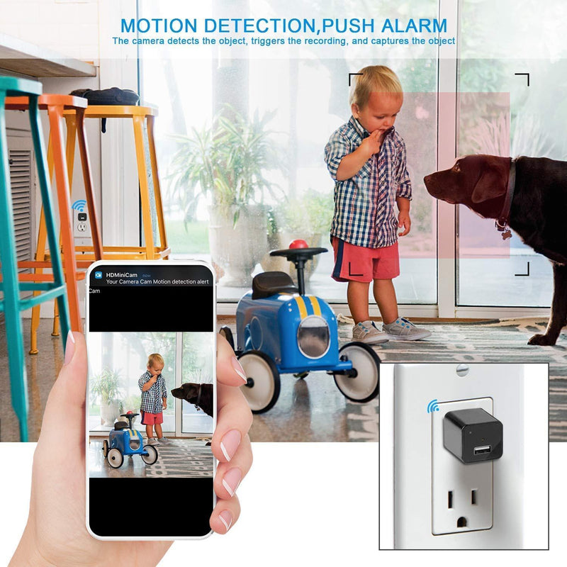 Spy Camera Wireless Hidden WiFi Camera with Remote View,Hidden Spy Camera 1080P HD Nanny Cam Spy Hidden Camera Charger Recorder Motion Activated,Wireless Spy Camera Support iOS/Android
