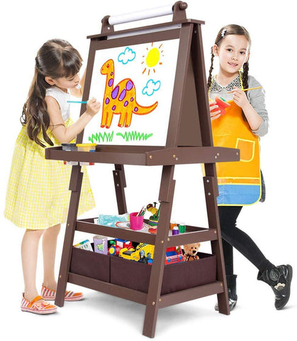 Evergreen Art Supply Kids Art Easel, 3 in 1 Double Durable Sided Art Easel with Chalk Board & Paper Roll, Two Storey Storage Space with Two Storage Bins