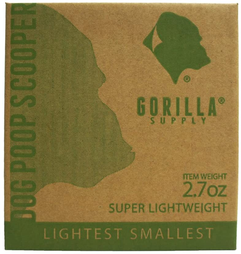 Gorilla Supply Lightest Poop Scooper with 1 Patented Dispenser, 20 Bags
