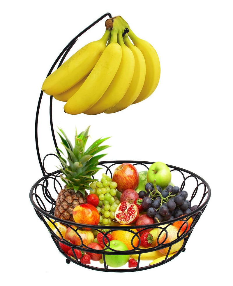 TQVAI Wire Fruit Basket Bowl with Banana Hook Hanger, Black