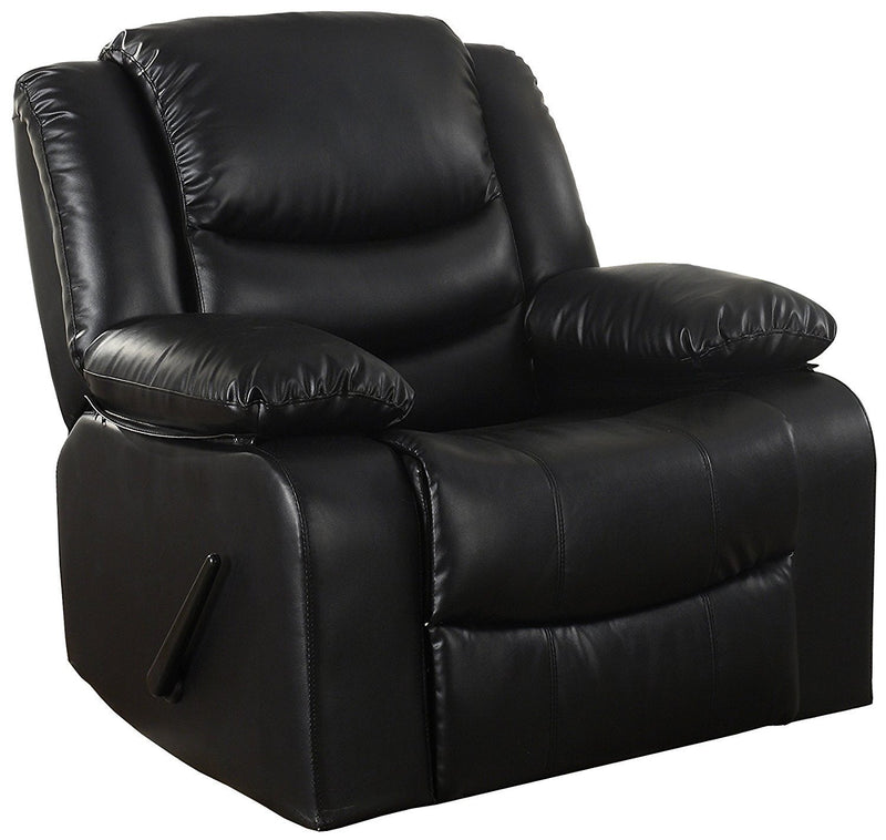 Bonded Leather Rocker Recliner Living Room Chair (Brown)