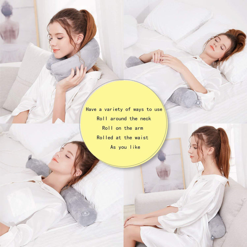 Myang Twist Memory Foam Travel Pillow for Neck, Chin, Lumbar and Leg Support - Best for Side, Stomach and Back Sleepers - Adjustable- for Traveling on Airplane, Bus, Train or at Home