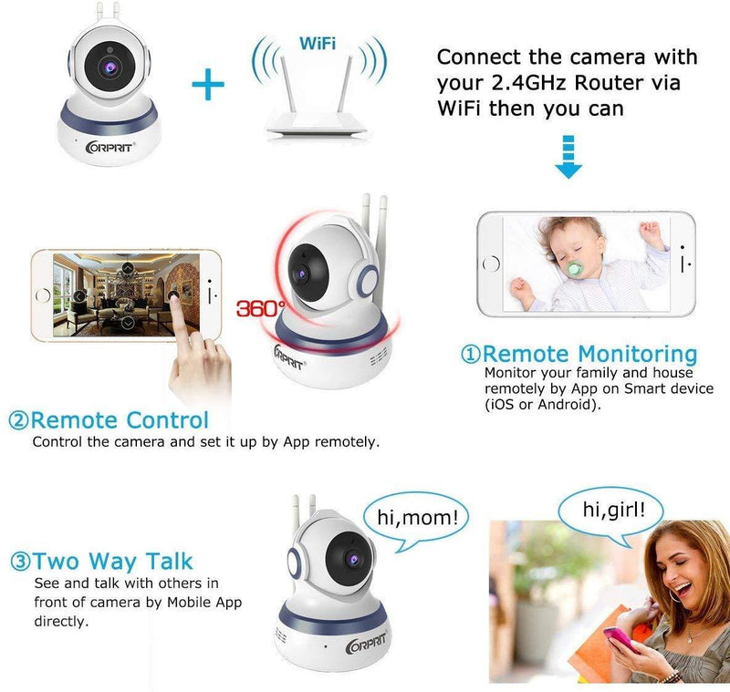 Wireless Security Camera, HD 1080P Baby Monitor Home Surveillance IP Came with Cloud Storage Night Vision, Pan/Tilt, Two Way Talk by Android iOS App by corprit