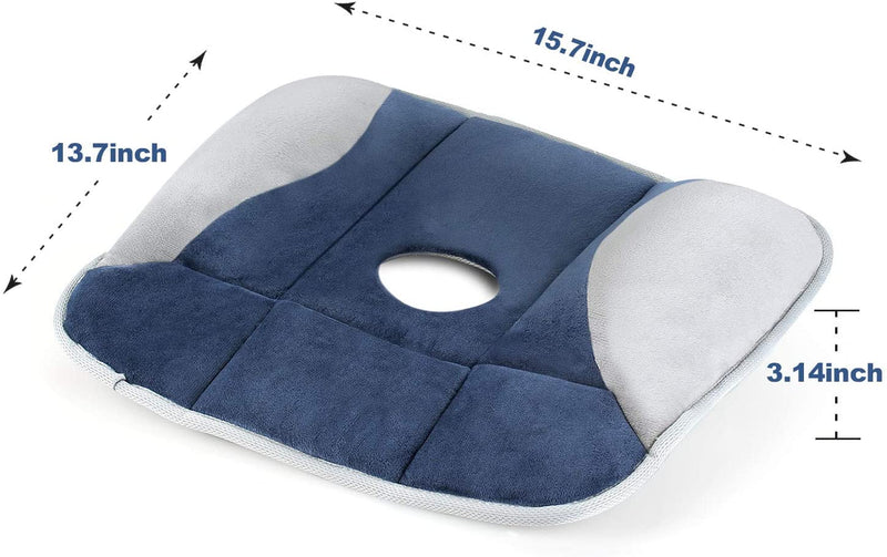 Memory Foam Seat Cushion - Back, Coccyx, Sciatica and Tailbone Pain Relief, Non Slip Breathable Orthopedic Seat Cushion Tailbone Pillow for Office Chair, Car Seats and Wheelchair by iDOO