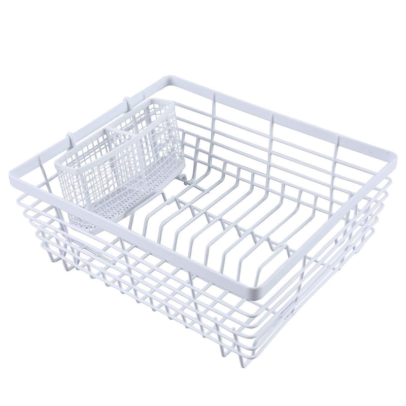 TQVAI Kitchen Dish Drying Rack with Full-Mesh Silverware Basket Holder, White