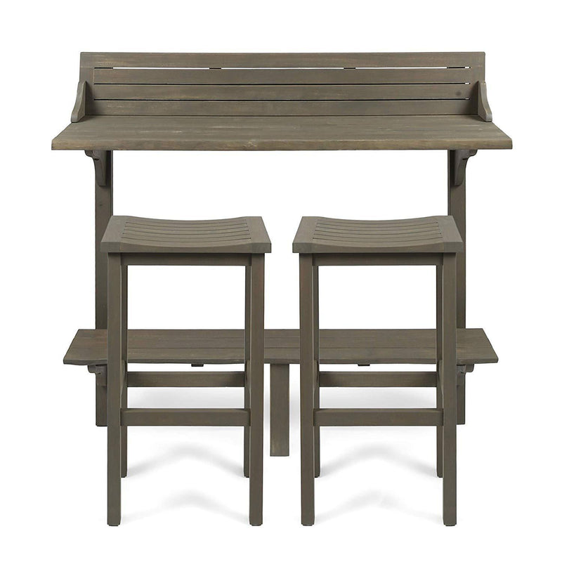 Great Deal Furniture Cassie Outdoor 3 Piece Grey Finish Acacia Wood Balcony Bar Set