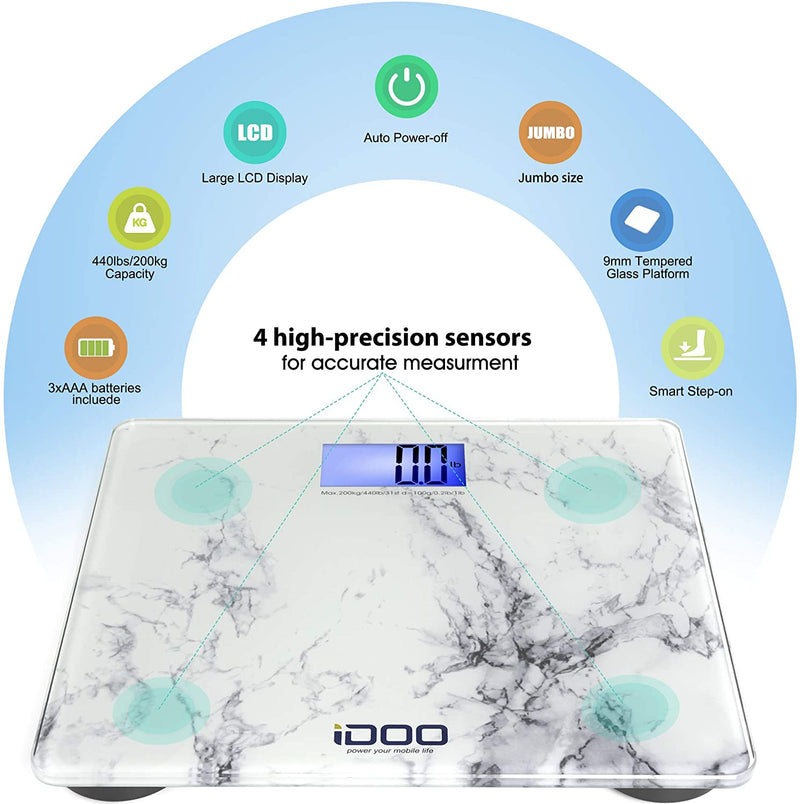 High Precision Digital Bathroom Weight Scale 440 Pound Capacity, Ultra Wide Heavy-Duty Platform with Elegant Marble Design by iDOO