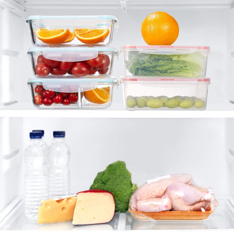 Plastic and Glass Food Containers with lids 8 Pack, KOMUEE Airtight Leak Proof Easy Snap Lock, BPA Free,FDA Approved,Set for Lunch Containers Kitchen Use,Microwave, Oven, Freezer and Dishwasher Safe