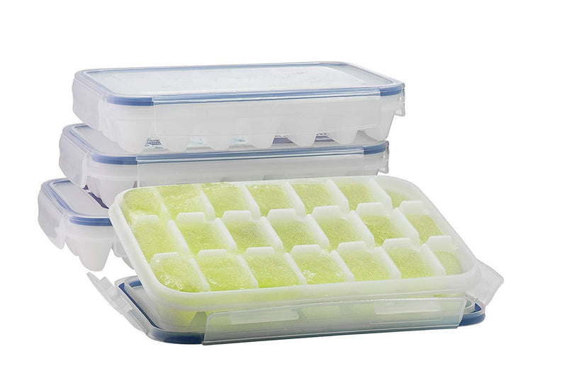 Komax Biokips Ice Cube Trays With Locking Lid | [4-Pack Set] Small Ice Cube Trays With Lid | Ice Cube Maker for Cool Drinks, Bourbon, Whiskey & Cocktails | FDA-Approved & BPA-Free Ice Cube Mold Tray
