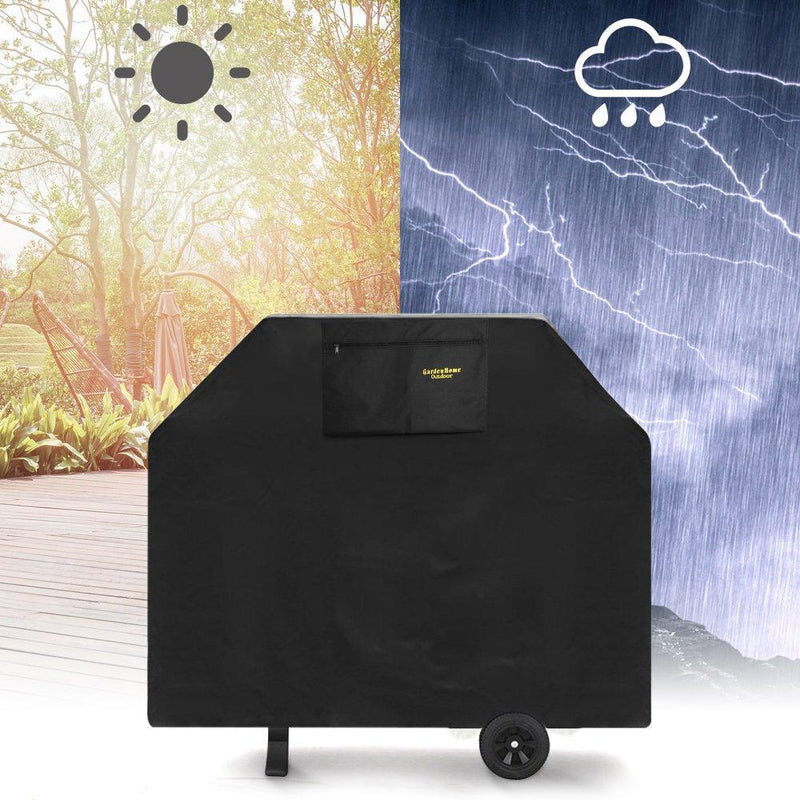 Felicite Home 72 Inches Burner Gas Grill Cover Heavy Duty Fits Most Brands of Grill-600D Waterproof BBQ Grill Cover + Storage Bag (UV & Dust & Water Resistant, Weather Resistant, Rip Resistant-Black