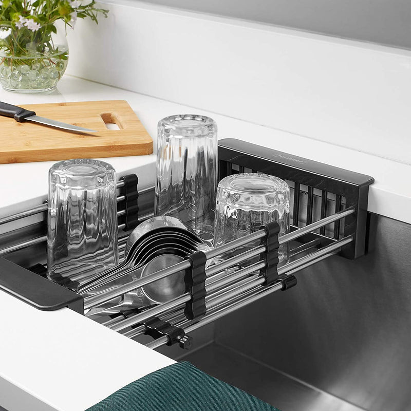Miligore Expandable Over The Sink Dish Drying Rack, Stainless Steel Kitchen Sink Organizer Basket, Black