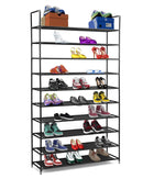 "Halter 10 Tier Stackable Shoe Rack Storage Shelves - Stainless Steel Frame Holds 50 Pairs of Shoes - 39.125"" X 11.125"" X 69.5"" - Black"