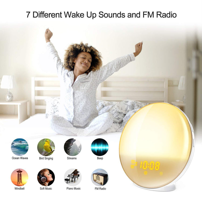 Wake Up Light Alarm Clock, Burbupps Kids Night Light Compatible with Alexa & Google Home, 7 Colored Sunrise Simulation and Sunset Fading, Dual Alarm Clock with FM Radio, USB Charge Port by Burbupps
