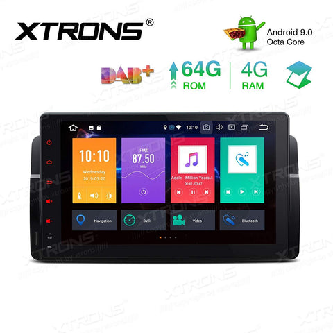 XTRONS 9 Inch Android 9.0 Car Stereo Radio Player Octa Core 4G RAM 64G ROM GPS Navigation Multi-Touch Screen Head Unit Supports Screen Mirroring WiFi OBD2 DVR TPMS for BMW E46 3er M3 Rover75 MG ZT