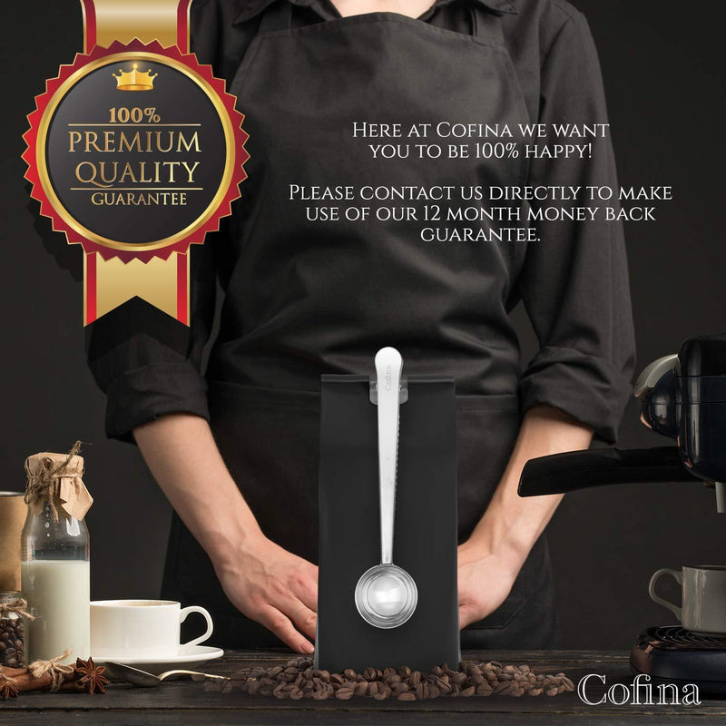 Cofina Coffee Scoop Measuring Spoon - Coffee Spoon with Clip, stainless steel tablespoon to close your coffee bags. Use One Scoop per Cup and seal your coffee bag