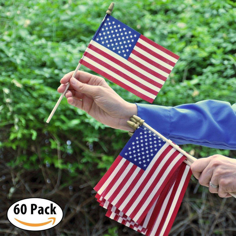"Hand Held American Flags on Sticks 60-Pack 4""x6"" Made in USA, Sold by Vets, American Quality, Vivid Colors, Rain Proof, Kid-Safe Spear Top. Perfect for Parades, Scout Troops, Returning Servicemen"