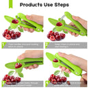 Cherry Pitter, GLIN Easy to Remove Cherry Stone Cherry Pitter tool, Space-Saving Lock Design and Lengthened Splatter Shield Dishwasher Safe, Easy to Clean, Heavy Duty Simple and Durable Olive Pitter