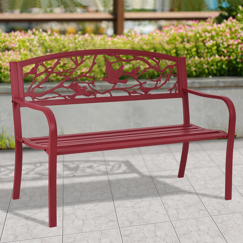 Giantex Patio Garden Bench Park Yard Outdoor Furniture Cast Iron Porch Chair (Red)